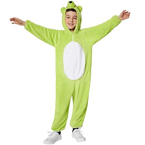 Kostüm Gummibär Kinder - dressforfun 900323 - Kinderkostüm Grüner Bär, aus weichem Plüschstoff, Kapuze mit Nase, Augen und Ohren (128 | Nr. 301556)