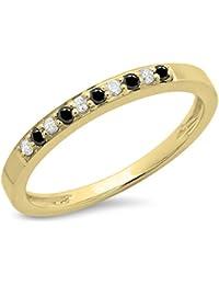 0.15 Carat (ctw) 10 ct Yellow Gold Black & White Diamond Ladies Anniversary Band Stackable Ring