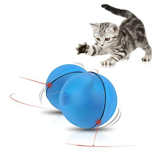 Skisneostype Katzenspielzeug Interaktive Spielzeug Katzen Federspielzeug Katze Elektrische Drehen Feder Spielzeug mit Automatisch Licht Point (Blau)