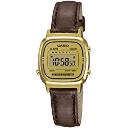 Casio Women's Quartz Watch with Digital Display and Leather Strap