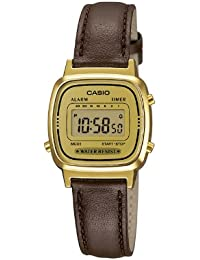 Casio Collection – Damen-Armbanduhr mit Digital-Display und Echtlederarmband – LA670WEGL-9EF