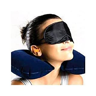 Travel Pillow Support Soft Inflatable Neck Pillow Support Compact & Lightweight with Eye Mask. 2 Sets Earplugs for Sleeping on Airplanes, Car, and Train. Ergonomic One Size Design