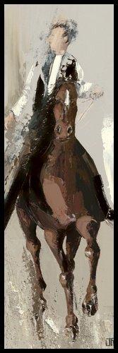 Bild mit Rahmen Bernard Ott - Le cavalier - Digitaldruck - Alimunium schwarz glänzend, 30 x 90cm - Premiumqualität - Pferde, Reiter, People&Eros, Wohnzimmer - MADE IN GERMANY - ART-GALERIE-SHOPde -
