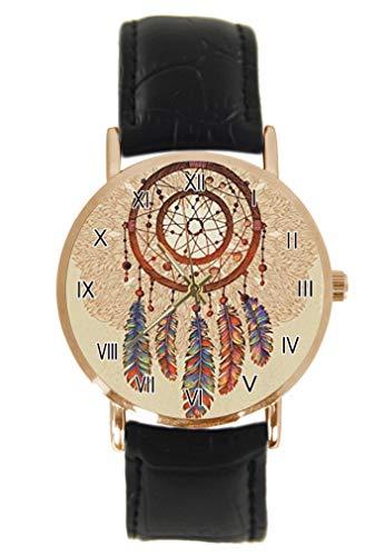 Boho - Reloj de Pulsera Tribal, diseño de atrapasueños y Plumas, Unisex, analógico, de Cuarzo, de Acero Inoxidable, con Correa de Piel