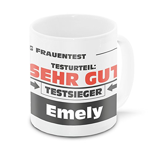 Namens-Tasse Emely mit Motiv Stiftung Frauentest, weiss   Freundschafts-Tasse - Namens-Tasse