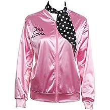 Grease Chaqueta de pink satén Disfraz de Lady Danny con pañuelo de lunares Cazadora para mujer Disfraces de 1950s ladies para Carnavales Halloween Color rosa - Nofonda (S)