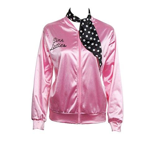 Nofonda Halloween Kostüm, Ladies Pink schicke Jacke 50er 60er 70er Jahre Damen Kostüm, Pink Jacke aus Satin mit Polka Dots Schal, Party Rock n (Pink Lady Jacke Kostüm)