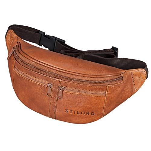 STILORD 'Echo' Riñonera Cuero Vintage para Fiestas Viajes Festivales Deporte Bolso Cintura Vacaciones Senderismo de auténtica Piel, Color:Ocre - marrón