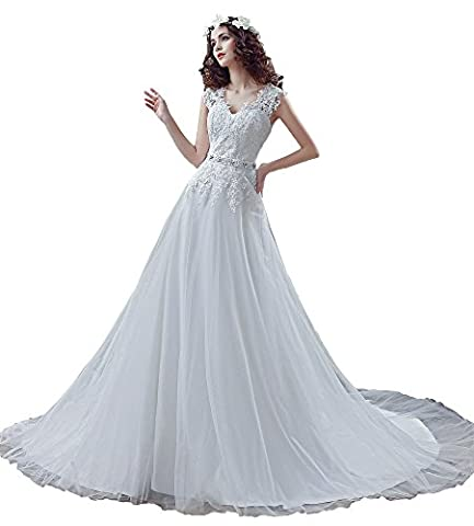 engerla Sheer Sangles Femme col en V Motif Plus Taille Robe de mariée en dentelle avec perles taille - blanc - 24 W