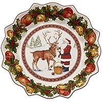 Villeroy & Boch Toy's Fantasy Bol Grande Papá Noel alimenta a Reno, Porcelana Premium, Verde/Rojo