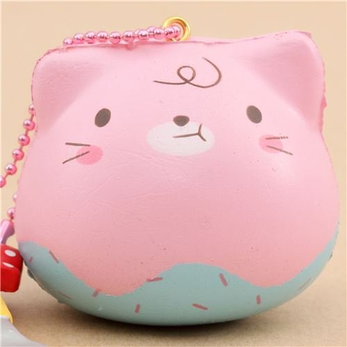 Mini-Squishy rosa-türkises Marshmallow-Kätzchen mit Aroma von Puni Maru (Maru Katze)