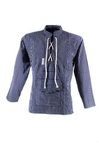 Fishermen Fishermen Unisex - Erwachsene Fischerhemd Sailor, mit Kordel und Bauchtasche, breit gestreift blau/weiß XS