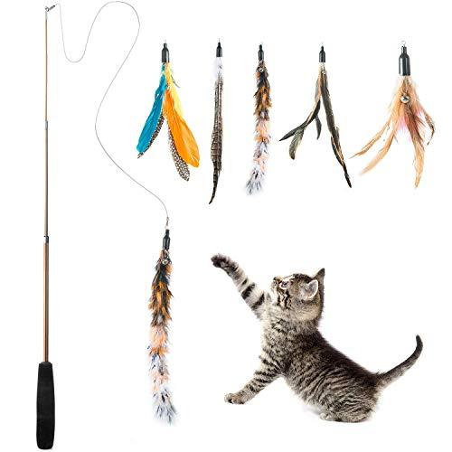 JDD Interaktives Katzenspielzeug, Katzenspielzeug Einziehbare Natürliche Federstab Katze Spielzeug mit 5 Stück Katzenangel Ersatz mit Glocken Katzenspielzeug