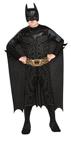 Jungen Klassiker Dunkler Ritter Rises Batman Superheld Büchertag Film TV Comic Karikatur Kostüm Verkleiden Outfit - Schwarz, 8-10 (Verkleiden Ritter Kinder Outfit)