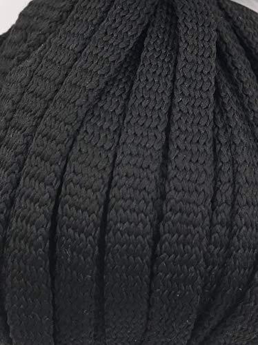 Slantastoffe 5m Kordel Polyester 8mm flach Schnur Turnbeutel Seil 9 Farben (Schwarz)