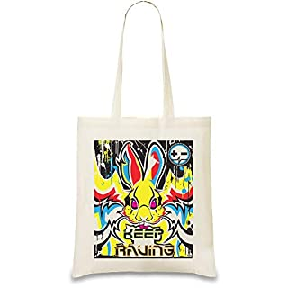 Halten Sie Raving Rabbit - Keep Raving Rabbit Custom Printed Tote Bag| 100% Soft Cotton| Natural Color & Eco-Friendly| Unique, Re-Usable & Stylish Handbag For Every Day Use| Custom Shoulder Bags By