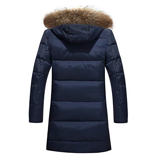 MAZF Winter Warme Lange Daunenjacke Mit Kapuze Pelzkragen Weiße Ente Daunenmantel Plus Blau M - 2