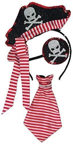 Damen Mädchen Paillette Piraten Hut Augenklappe Halstuch Krawatte Funkelnd Glänzend Rot Schwarz Weiß Halloween Karneval Kostüm Kleid Outfit Satz