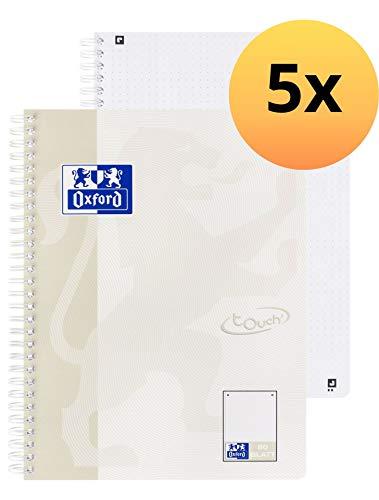 Oxford 400132398 Collegeblock Touch 5er Pack B5 Lichtgrau 80 Blatt Mikroperforation Dotted Punktkariert