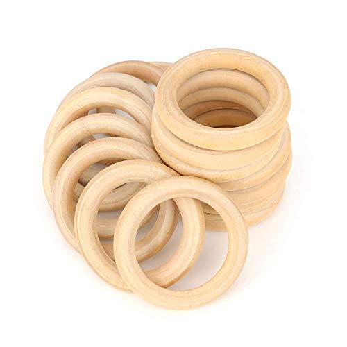 RUBY - 20 Aros de madera natural para manualidades