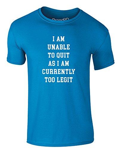 Brand88 - Currently Too Legit, Erwachsene Gedrucktes T-Shirt Azurblau/Weiß