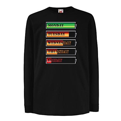 lepni.me Kinder-T-Shirt mit langen Ärmeln Wöchentlicher Power Workout Zeitplan (14-15 years Schwarz - Crafts Brownie Halloween