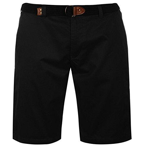 Pierre Cardin Herren 100% Baumwolle Garderobe Gewebt Belted Chino Short - Nero-X Groß (Gestickte Belted Shorts)