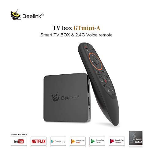 Beelink GT1 Mini A TV Box Android 8.1 LPDDR4 da 4GB/32GB S905X2 Quad-Core Processore Dual WiFi 2.4G+5.8G BT4.0 1000Mbps LAN with Voice Remote Control 4K Android TV Box