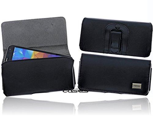 Exkluisve Gürteltasche Swivel Holster für das HTC One M7 Schutzhülle Quertasche Seitentasche mit Gürtelschlaufe und Clip - Magnetverschluss - hochwertige Qualität in schwarz/ black