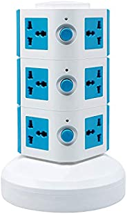 Universal Vertical Multi Socket 220V Tower Extension Outlet with USB Ports 3M Cord and UK-Plug Power Strip Mul