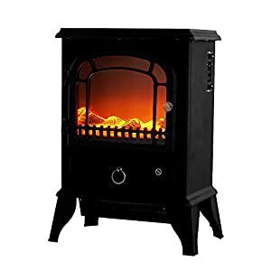 Keinode Electric Fireplace Modern Free Standing Portable Electric Heaters Fire Wood Flame Heater Stove Living Room Log Burner Effect Fan Heat for Living Room Bedroom