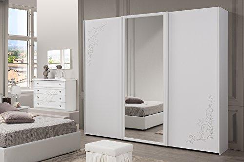 Nuovarredo armadio sara 3 ante scorrevoli con specchio centrale bianco frassinato