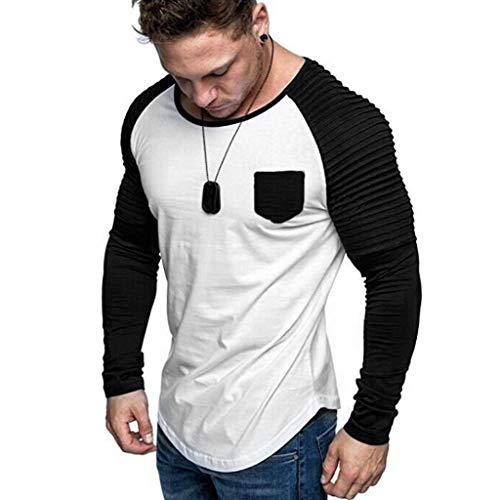 DNOQNHerren BeiläUfig Blusen Sportshirt Polohemd Reine Farbe O-Ausschnitt Spleißen Langarm Shirt Mode Langarm Bluse Top L
