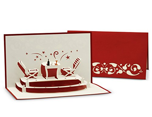 Gruß- & Glückwunschkarte für Essens-Einladung und Restaurant-Gutschein - 3D Pop-Up Karte für Feierlichkeiten, gemeinsames Abendessen und Candle-Light Dinner