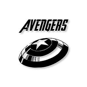 Adesivo, decalcomania per MacBook, motivo: Avengers, Marvel, in vinile, colore: nero