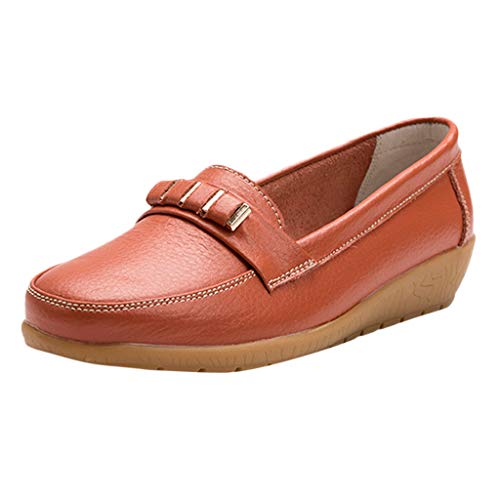 Große Größe Mokassins, Dorical Damen Bootsschuhe Loafers Halbschuhe Casual Fahren Schuhe Kunstleder Slip on Slipper Erbsenschuhe Low-top Schuhe 35-44 EU Reduziert(Orange,41 EU)