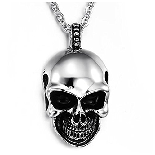 SODIAL Colgante de joyeria de Acero Inoxidable de Calaveras goticas para Hombre con Collar de 70cm, Negro Plata