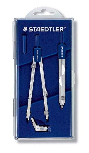 Staedtler 554 t11 - set con compasso di precisione mars basic e calibro a compasso, con coperchio a ribalta, colore: argento