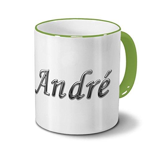 Tasse mit Namen André - Motiv Chrom-Schriftzug - Namenstasse, Kaffeebecher, Mug, Becher, Kaffeetasse - Farbe Grün