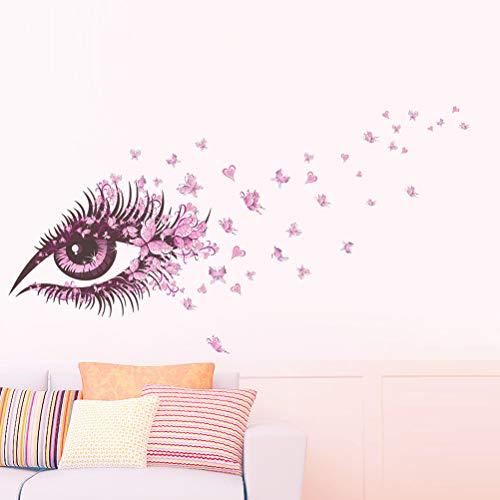 Wohnzimmer-Fernsehhintergrund-Wandaufkleber der rosa Augen Schmetterling