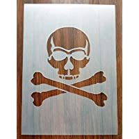 Skull and Crossbones Pirate Flag Jolly Roger Stencil Mask Reusable PP Sheet for Arts & Crafts