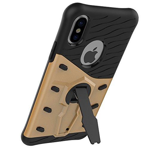 BCIT iPhone X Cover - Alta qualità Doppio Strato ibrido Cellulari Case Custodia protettivo Per iPhone X - Argento Oro