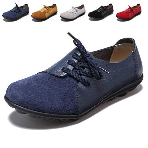 Hishoes Damen Mokassin Bootsschuhe Leder Loafers Fahren Flache Schuhe Halbschuhe Slippers Erbsenschuhe, 39 EU=Etikettengröße 39 (Slipper Mokassins)