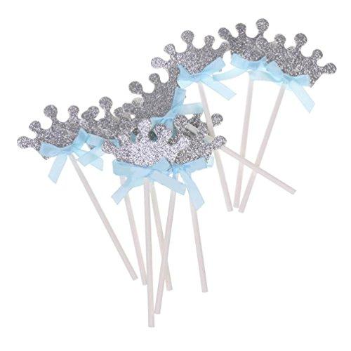 bismarckbeer 10 Krone Geburtstag Kuchen Topper Baby Dusche Anniversary Party Cupcake Decor für Kinder, Blue Bow Crown, Einheitsgröße