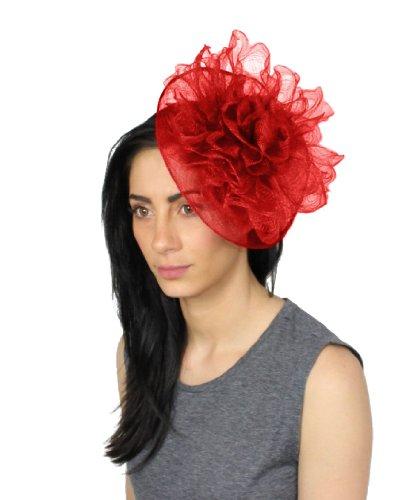 Bas'en sinamay avec petit rebord crin et fleurs Rouge - Rouge