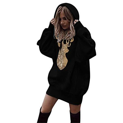MRULIC Damen Loose Langer Jumper Sweatshirt Hoodie Pullover Sweater Blouse Oberteil Oversize Tops Female Mantel