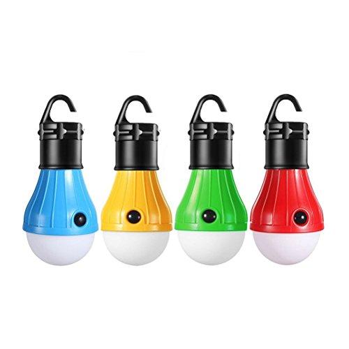 -Laterne, 4 PACK Zelt Glühbirne für Camping Wandern Angeln Notfall batteriebetriebenes Licht (rot / blau / gelb / grün) ()