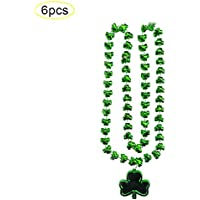 Collar de trébol del día de San Patricio Forma de trébol verde Collar de cuentas redondas Cadena de cuentas Festival irlandés Colgante