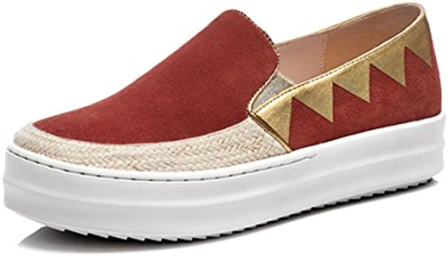Yiye Damen Nubukleder Loafer Flach Mokassins Slip-On Plateau Schuhe Trainer Twill