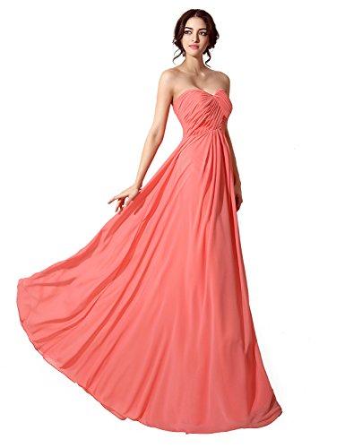 Sarahbridal Damen Chiffon Herzenform Ballkleid Brautjungfernkleider Lang Faltenrock Abendkleider SSD182 Olivgrün